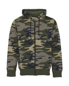 Heren hoodie met rits leger camouflage
