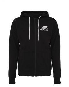 REWAGE heren hoodie met rits - Zwart