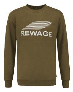 REWAGE Sweater Premium Heavy Kwaliteit - Heren - Olijfgroen
